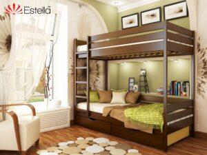 Двухъярусная кровать из бука ДУЭТ ТМ Эстелла 80×190/200