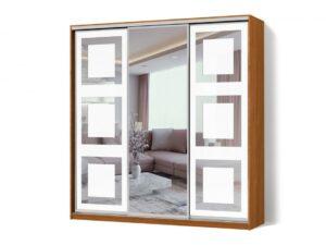 Шкаф-купе Зеркало с рисунком пескоструй на 2 двери трехдверный Стандарт