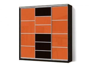 Шкаф-купе с комбинированными фасадами Цветные стекла+Тонированные зеркала трехдверный Классик